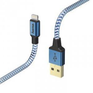 Kabel ładujący/data Reflected - odblaskowy Lightning 1.5m niebieski - Hama