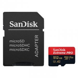 Micro sd 512gb extreme pro (microsd xc) 170mb/s c10 uhs-i u3, v30, a2 + res
