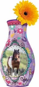 Ravensburger, Girly Girl, Wazon, konie, puzzle 3D, 216 elementów + gratis