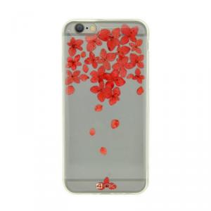 4OK Flower Etui iPhone 6/6S czerwone kwiaty