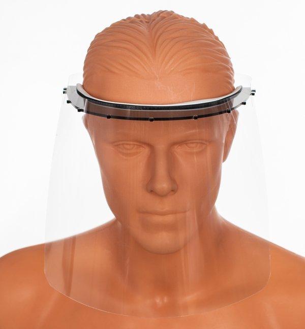 Przyłbica z regulacją na płacie potylicznym z daszkiem i paskiem elastycznym