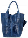Univerzální Kožené Kabelky Shopper Bag XL se zvířecím motivem Vittoria Gotti Džínová