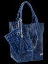 Uniwersalna Torebka Skórzana XL Shopper Bag w motyw zwierzęcy firmy Vittoria Gotti Jeansowa