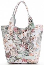Vittoria Gotti Módní Kožená Kabelka Shopperbag XL květinový vzor Bílá