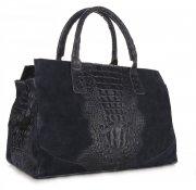 Kožená kabelka kufřík Aligátor Tmavě modrá