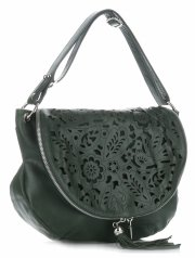 Vittoria Gotti Dámská kožená kabelka listonoška – vysoká kvalita Tmavě Zelená