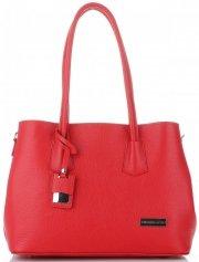 Vittoria Gotti Elegantní Dámská kabelka kožená kufřík Červená