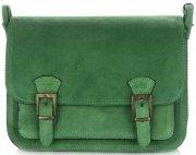 kožená kabelka listonoška Genuine Leather lahvově zelená