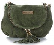 Vittoria Gotti Kožená kabelka listonoška zelená