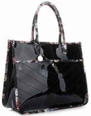 Módní Dámské Kabelky Kufříky květinový vzor Diana&Co Černá