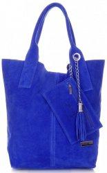 Kožené kabelky Vittoria Gotti Shopper bag modrá