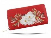 Dámská Peněženka XL David Jones vzorek v květinách Multicolor Červená