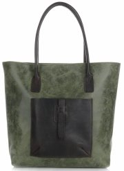 Univerzální kožená italská kabelka XXL Genuine Leather na každý den Zelená