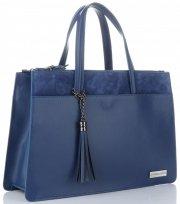 VITTORIA GOTTI Made in Italy Elegantní Dámská kabelka kožená kufřík Modrá