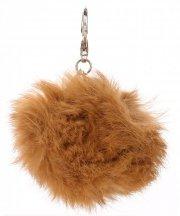 Přívěšek ke kabelce Pompon z přírodního vlasu zrzavý