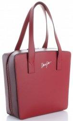 Originální a módní kožená italská kabelka Vittoria Gotti červená/bordová