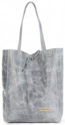Vittoria Gotti Kožená Italská Kabelka Shopperbag motiv želvy XL Světle šedá