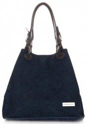 Univerzální kožená italská kabelka Vittoria Gotti Tmavě modrá