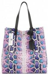 Vittoria Gotti Exkluzivní Kožené Kabelky Shopperbag XL hadí s kosmetickou Světle Fialová