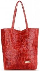 Vittoria Gotti Kožená Italská Kabelka Shopperbag motiv želvy XL Červená
