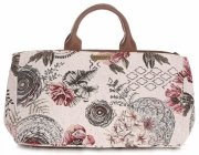 Univerzální kožená italská kabelka Vittoria Gotti červené růže multicolor