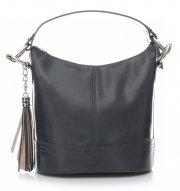 Klasická kabelka z kůže do ruky s dlouhým páskem šedá