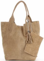Kožené kabelky Shopperbag přírodní semiš Tmavě béžová
