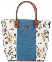Dámská kabelka kufřík David Jones květovaná Bílá