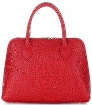 Elegantní kožená kabelka kufřík červená