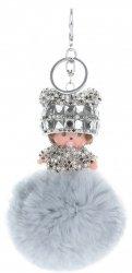 Přívěšek ke kabelce Mimino s pomponem z přírodního králíka světle šedý