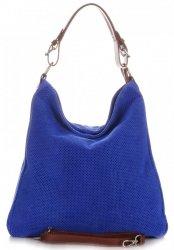 Univerzální kožená italská kabelka ažurová Modrá