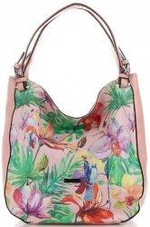 Módní Dámské Kabelky Květinový Vzor Velina Fabbiano Multicolor - Růžová