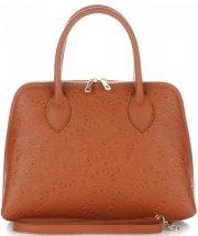 Elegantní kožená kabelka kufřík zrzavá