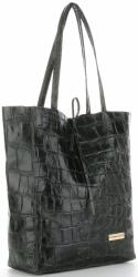 Vittoria Gotti Kožená Italská Kabelka Shopperbag motiv želvy XL Lahvově Zelená