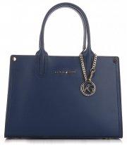 VITTORIA GOTTI Made in Italy Elegantní Dámská kabelka kožená kufřík Tmavě modrá