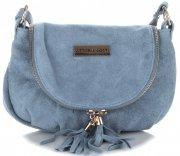 Vittoria Gotti Kožená kabelka listonoška světle modrá