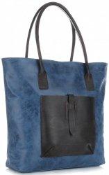 Univerzální kožená italská kabelka XXL Genuine Leather na každý den Modrá - Jeans