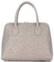 Elegantní kožená kabelka kufřík béžová