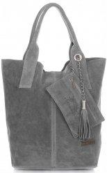 Kožené kabelky Vittoria Gotti Shopper bag šedá