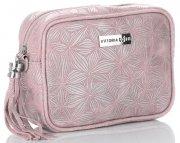 Vittoria Gotti Made in Italy Kožená kabelka listonoška Prášková růžová