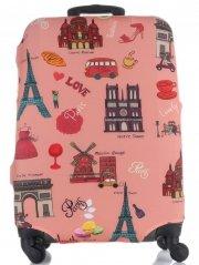 Obal na kufr Snowball M size Paris vícebarevný růžová