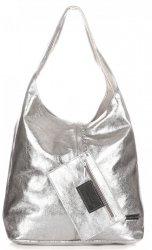 Kožená kabelka Shopper Bags kosmetickou kapsičkou stříbrná