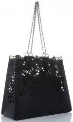 Elegantní kožená italská kabelka Vittoria Gotti Made in Italy Shopperbag XL s kosmetickou Černá
