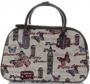 Velká cestovní taška kufřík Or&Mi Butterfly Multicolor - béžová