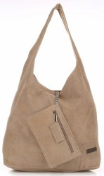 Oryginalne Torby Skórzane XL VITTORIA GOTTI Shopper Bag z Etui Beżowa