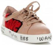 Modne Tenisówki Damskie Love Paris marki Ideal Shoes Różowe