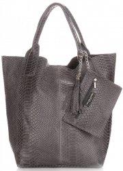 Włoskie Torebki skórzane typu Shopper bag Aligator Szara