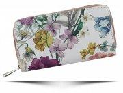 Dwukomorowe Portfele Damskie XL we wzór kwiatów David Jones Multikolor Różowy