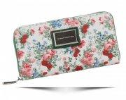 Modny Portfel Damski XL wzór w kwiaty Diana&Co Multikolor Zielony