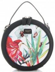 Okrągłe Torebki Listonoszki w Tropikalne wzory firmy David Jones Multikolor Czarna